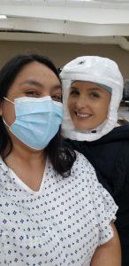 On set of Grey's Anatomy with Camilla Luddington